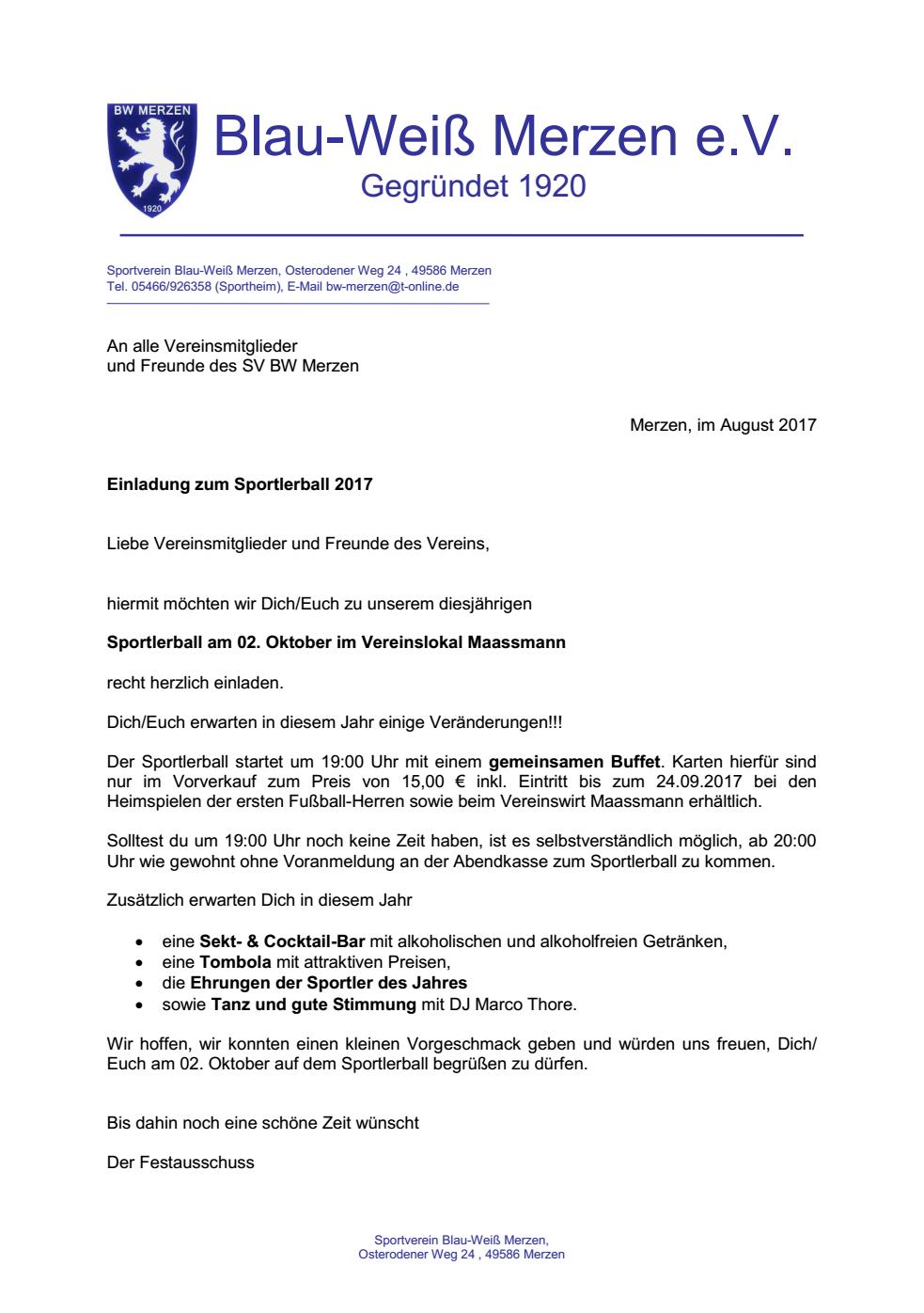 einladung zum sportlerball 2017 - der verein - news - bw-merzen.de, Einladung